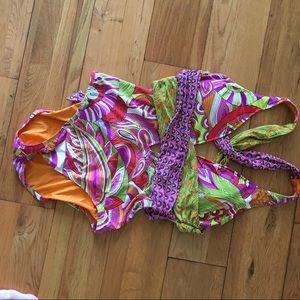 Trina Turk one piece plunging cross back swimsuit
